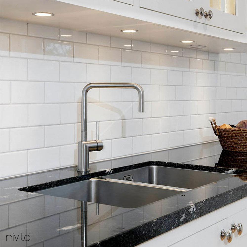 Brushed steel single handle faucet