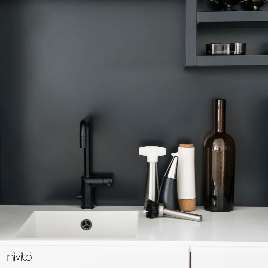 Black single hole kitchen faucet