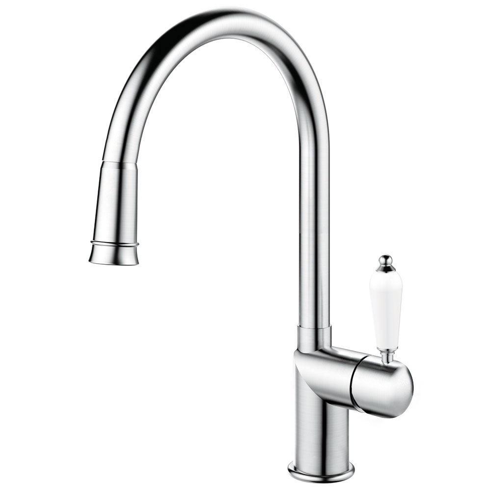 Stainless Steel Single Hole Kitchen Faucet Pullout hose - Nivito CL-200 White Porcelain Handle Color
