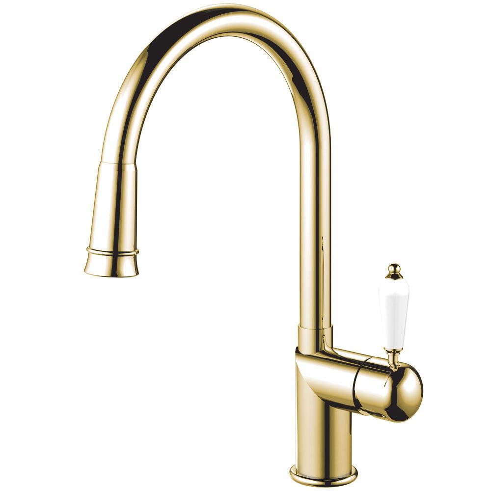 Brass/Gold Single Hole Kitchen Faucet Pullout hose - Nivito CL-260 White Porcelain Handle Color