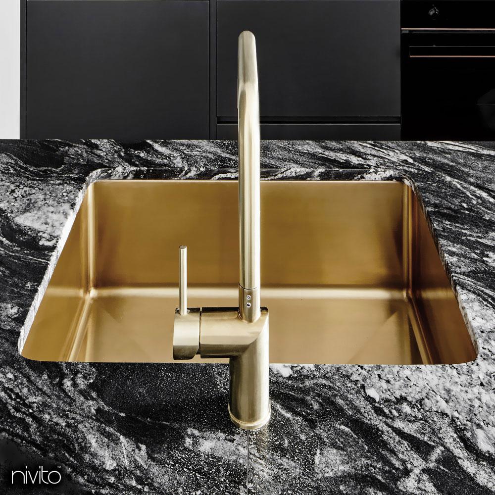Gold brass kitchen sink