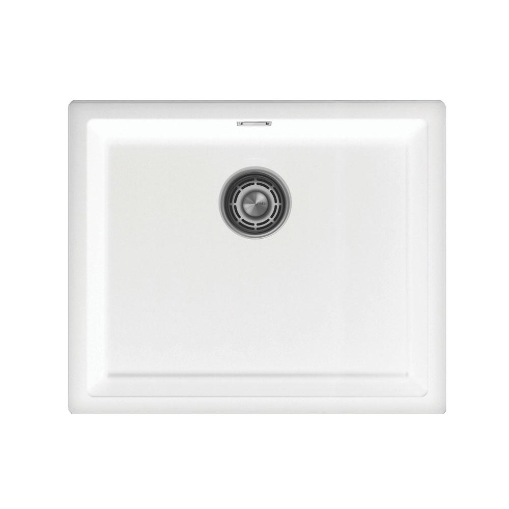 White Kitchen Basin - Nivito CU-500-GR-WH Brushed Steel Strainer ∕ Waste Kit Color