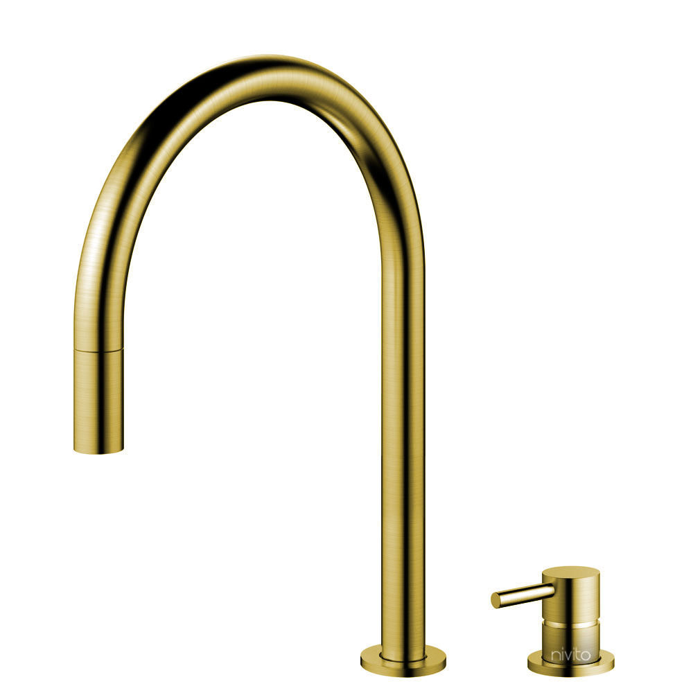 Brass/Gold Single Hole Kitchen Faucet Pullout hose / Seperated Body/Pipe - Nivito RH-140-VI