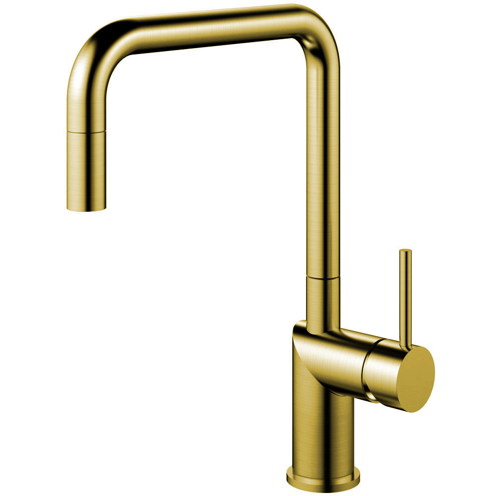Brass/Gold Single Hole Kitchen Faucet Pullout hose - Nivito RH-340-EX