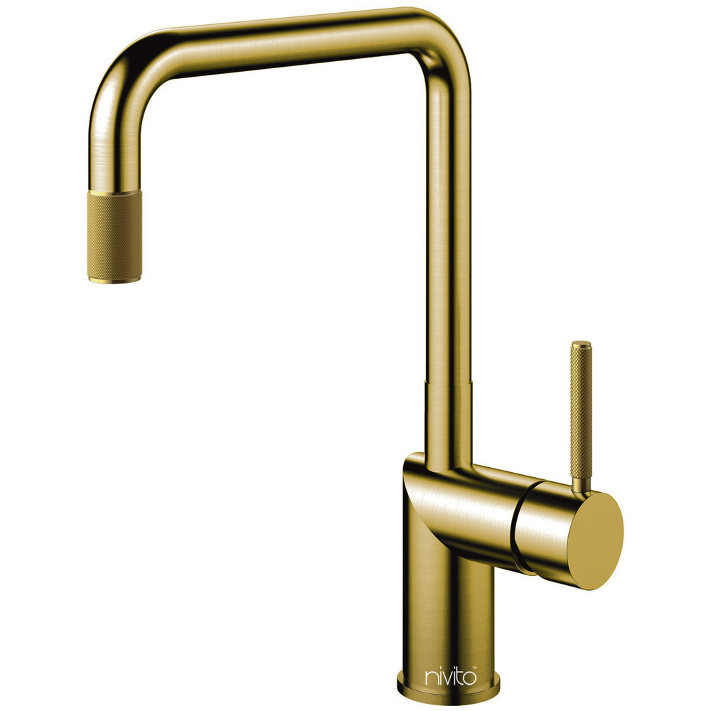 Brass/Gold Single Hole Kitchen Faucet - Nivito RH-340-IN