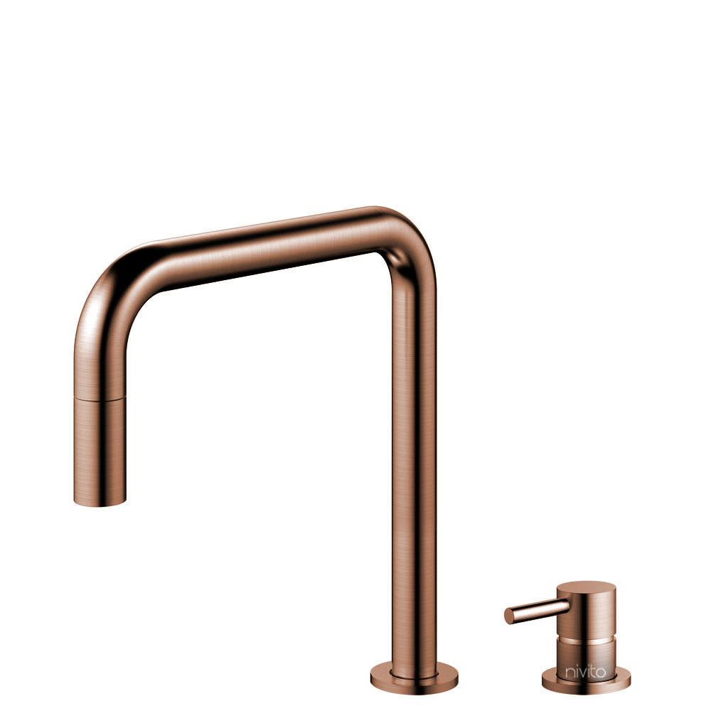 Copper Single Hole Kitchen Faucet Pullout hose / Seperated Body/Pipe - Nivito RH-350-VI