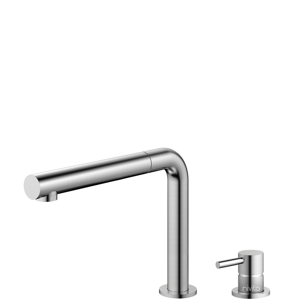 Stainless Steel Single Hole Kitchen Faucet Pullout hose / Seperated Body/Pipe - Nivito RH-600-VI