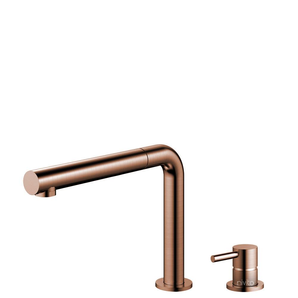 Copper Single Hole Kitchen Faucet Pullout hose / Seperated Body/Pipe - Nivito RH-650-VI
