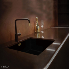 Black and gold brass faucet single hole single handle