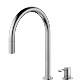 Stainless Steel Single Hole Kitchen Faucet Pullout hose / Seperated Body/Pipe - Nivito RH-100-VI