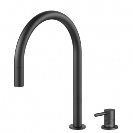 Black Single Hole Kitchen Faucet Pullout hose / Seperated Body/Pipe - Nivito RH-120-VI