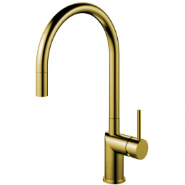 Brass/Gold Single Hole Kitchen Faucet Pullout hose - Nivito RH-140-EX