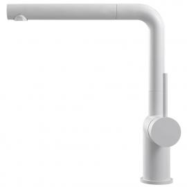 White Single Hole Kitchen Faucet Pullout hose - Nivito RH-630-EX